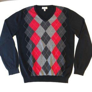 Mens M Cotton Argyle V-Neck Sweater Le Chateau